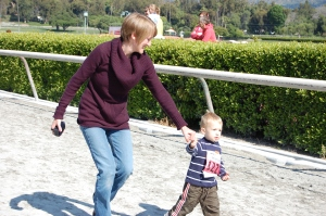 Mom and Reid running the race